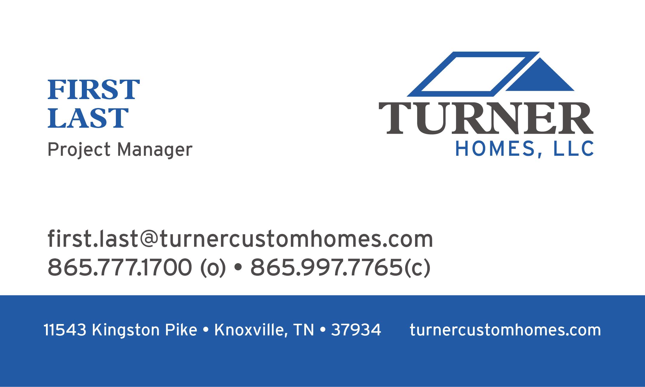 Ethan Beyer: Turner Properties - Turner Homes Business Cards
